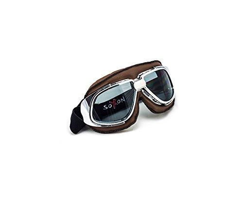 SOXON SG-301 Aviator Vintage Vespa Scooter Flieger-Brille Schutz-Brille Goggles Biker Jet-Brille Oldtimer Sport-Brille Cruiser Motorrad-Brille Pilot Ski-Brille, Leder Design, Braun/Klar, Einheitsgröße