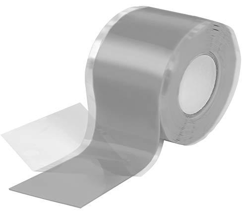 Poppstar - Nastro in silicone 1x 3m autoagglomerante, fascia in silicone per riparazione nastro, nastro isolante e nastro di tenuta (acqua, aria), largo 38 mm, grigio