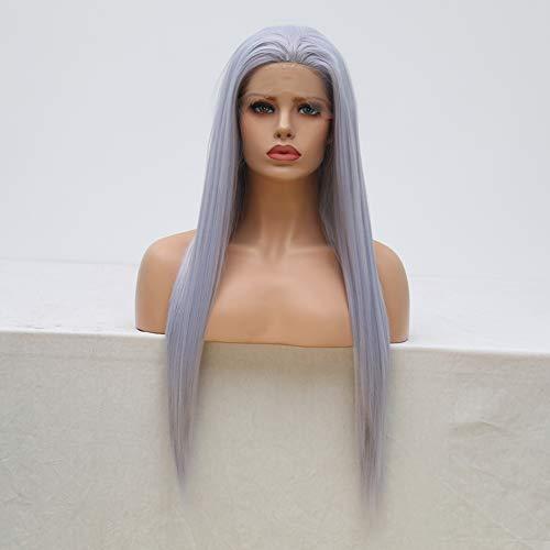 Perücke, silber-blau, synthetische Spitze, vorne, natürliches Haar, langes, seidiges, glattes Perücke, mit gratis Teil, Pastellflieder, Lavendel, Violett, ohne Klebstoff, hitzebeständig, Cosplay