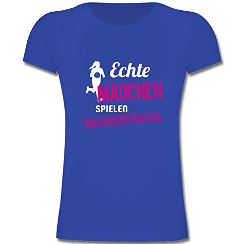 Sport Kind - Echte Mädchen Spielen Basketball - 164 (14-15 Jahre) - Royalblau - F131K - Mädchen Kinder T-Shirt