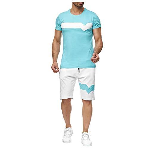 Sportanzug Herren T-Shirt + Shorts Set Sport Hemd Strand Kurzarm Mode Kurze Hose Männer Muskel Shirt Bademode Casual Tops Anzug Jogging Hosen Fitness Bermuda Sweatpants Herrenanzug - College Anzüge Sweat