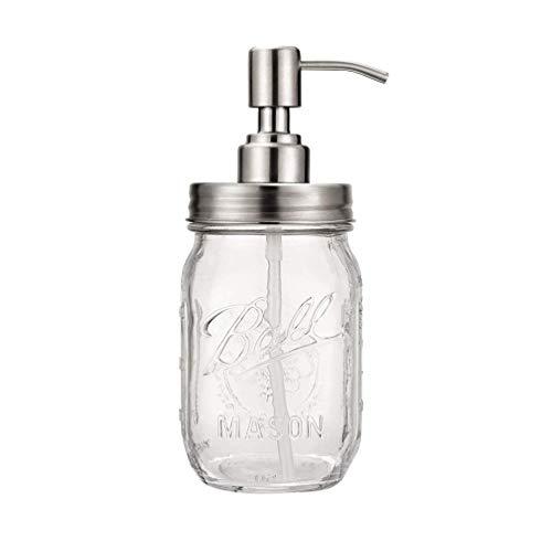 Dispensador de jabón Mason Jar - Bola de 16 onzas Mason Jar con Bomba de Acero Inoxidable - Dispensador de jabón líquido para Manos, para Cocina y baño