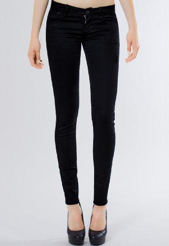 CASPAR JNS006 Damen klassische Hose skinny fit Schwarz