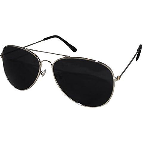 Plata marco negro lente Top Gun estilo aviador gafas de sol unisex Espejo Wayfarer Gafas de moda tonos elegante mundo ojo