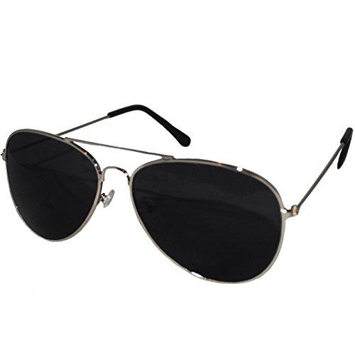 Silber Rahmen Schwarz Objektiv Top Gun Aviator Stil Sonnenbrille Unisex verspiegelt Wayfarer Fashion Shades Elegant