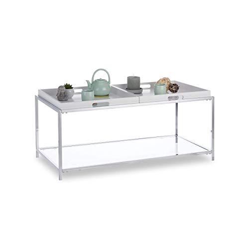 Relaxdays Couchtisch, Flacher Wohnzimmertisch mit 2 Tabletts, eckiger Beistelltisch, HBT 43 x 95 x 49 cm, weiß/Silber -