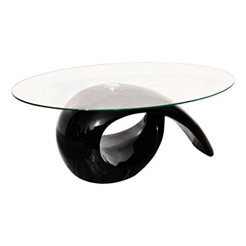 vidaXL Table basse brillante noire avec plateau en verre