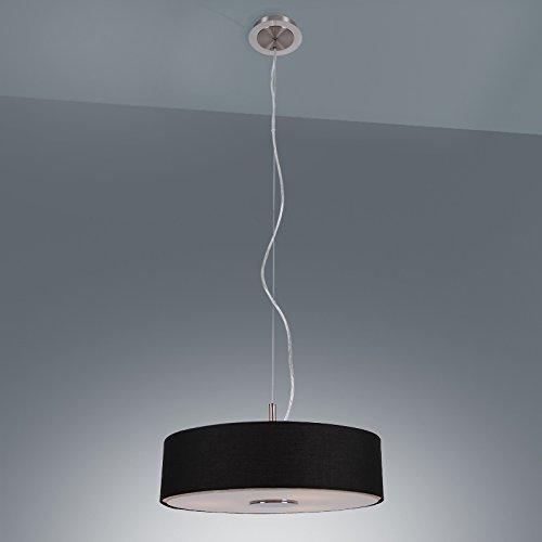 Moderne Pendelleuchte | Hängelampe mit Stoffschirm in Schwarz | 3 flammige Pendellampe E14 230V