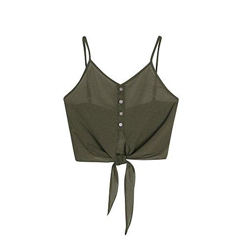 BHYDRY Frauen Knopf ärmelloses Crop Top Weste Tank Shirt Bluse ()