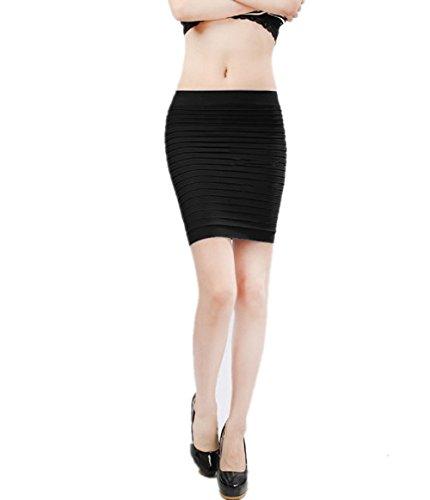 ycon Knielang Minirock, Frauen Damen Stretch Hohe Taille Plain Büro Rohr Bleistift Short Brautkleid (Schwarz) ()