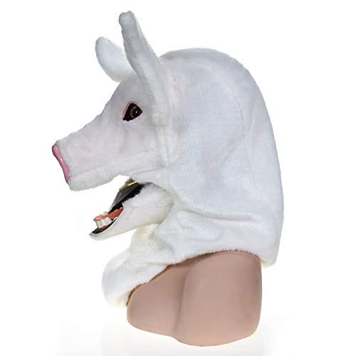 BAIJIAXIUSHANG-MASK Party Fun Maske Tierkopf Maske Fursuit Handgefertigte Fursuit Karneval Bewegung Mundmaske Weißes Schwein Simulation Tiermaske Gruselige (Deluxe Schweine Maske)