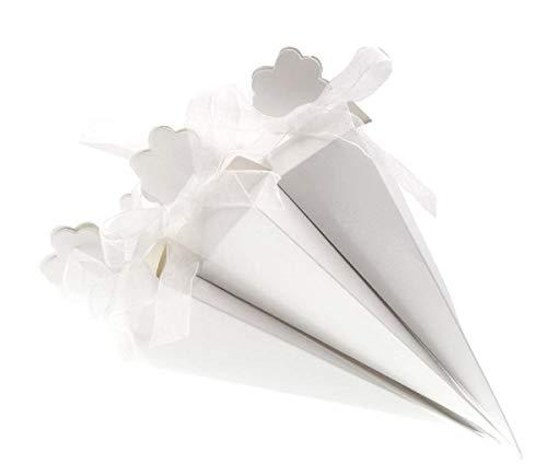 JZK 50 Bianco cono portariso scatola portaconfetti scatolina bomboniere  segnaposto per matrimonio compleanno battesimo comunione nascita 70e6230ba77c