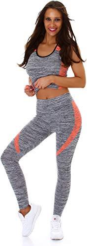 StyleLightOne Damen Fitness Sport-Set Zweiteiler Melange Zweifarbig Stretch High-Waist Tank-Top & Leggings Einheitsgröße 36 S, Apricot
