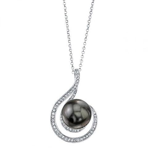 10 mm tahitische Südsee-Perle Glaskristall &Melody Anhänger (Südseeperlen & Diamant-armband)