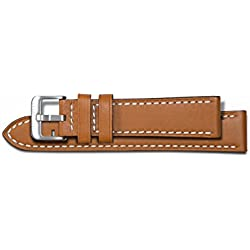 Chotovelli 20mm Congac Genuine Leather Steel Pin Buckle Watch Band Strap