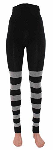 Ringel-Leggings Bio Baumwolle, Farben alle:schwarz-graumeliert geringelt;Größe:36/38 (Damen-bio-baumwoll-strumpfhose Leggings)