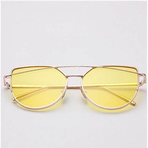 sijiaqi Goldene Metall Bein & Rahmen Frauen Sonnenbrillen Cat Eye Shaped Mode Strand Sonnenbrille Uv400 Eyewear optische Gläser,Gold f Yellow