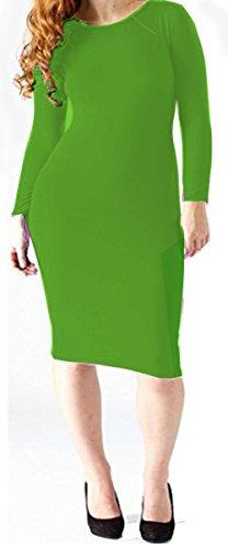 Vanilla Inc - Robe - Moulante - Manches Longues - Femme noir * taille unique green