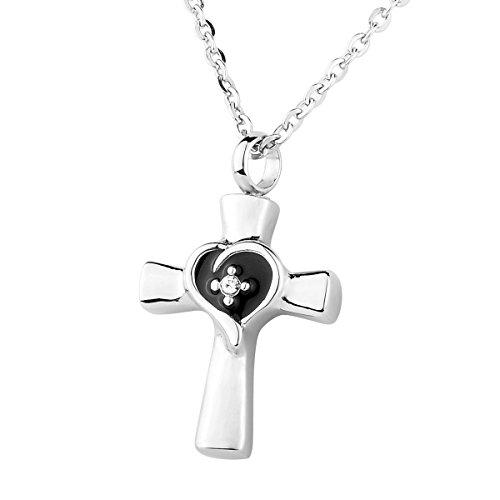 hooami Kristall Herz Kreuz Anhänger Urnenanhänger Urne Halskette Esche Halter, Edelstahl silber