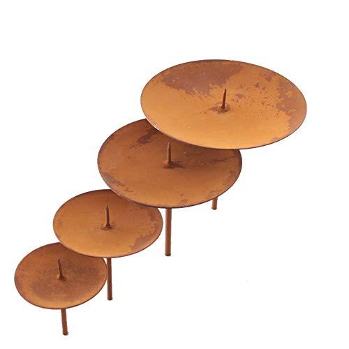 ARTECSIS 4 Kerzenhalter für Adventskranz Adventskerzenhalter Rostbraun Durchmesser 12cm