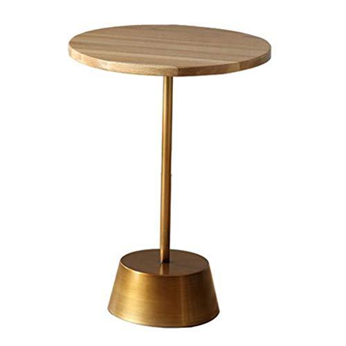 Dyfymxtavolino tavolino rotondo in legno, tavolino in metallo, soggiorno, tavolino da caffè sagomato (dimensioni : 40×40×57cm)