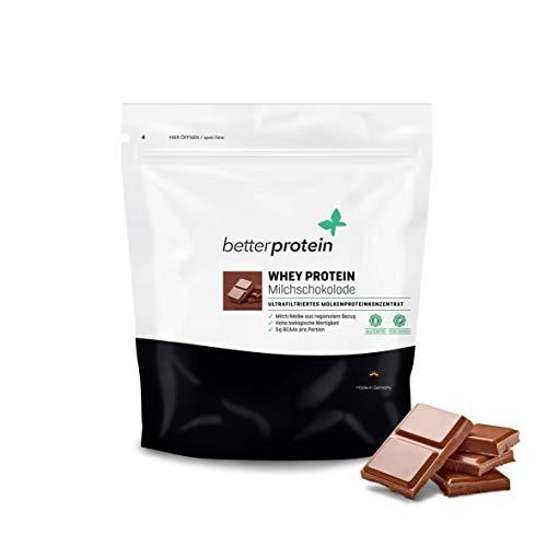 Whey Protein Milch Schokolade 1 kg - Made in Germany - Laborgeprüft - BetterProtein® - Eiweißpulver zum Muskelaufbau und Abnehmen - Beutel