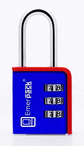 Candado de Combinacion Para Taquilla de Gimnasio Varios Colores/Arco Largo/Candados de Seguridad Para Vestuario, Gym, Equipaje/Cerradura Sin Llave Con Combinación Contraseña Codigo (Azul-Rojo)