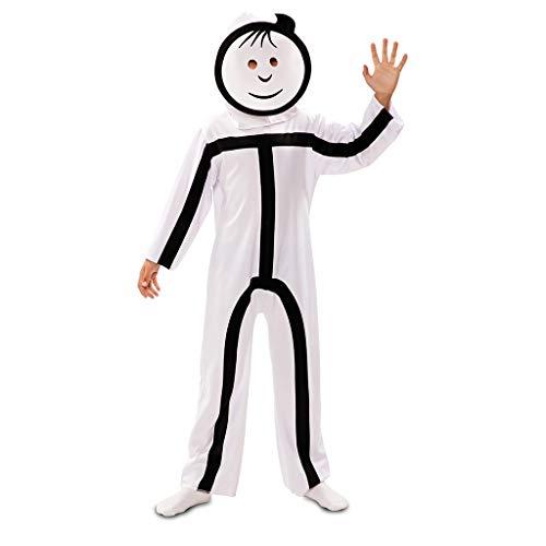 Suit Licht Led Kostüm - EUROCARNAVALES Strichmännchen Kinderkostüm mit 2 Masken Stickman Strichmann Kostüm für Kinder