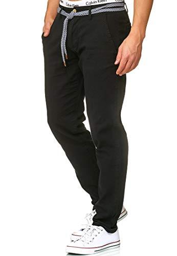 Indicode Herren Haverfield Stoffhose aus 55% Leinen & 45% Baumwolle m. 4 Taschen inkl. Gürtel | Lange sportliche Regular Fit Hose Baumwollhose Leinenhose Freizeithose f. Männer in Schwarz XL