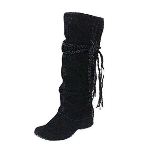 Damen Stiefel FORH Frauen Warm Hohe Stiefel Troddel Stiefel Winter Outdoor Schnee Stiefel Mode Heighten Platforms Thigh High Tessals Boots Bequem Motorrad Schuhe WinterStiefel (Schwarz, 40) (Manschette Wildleder-boot)