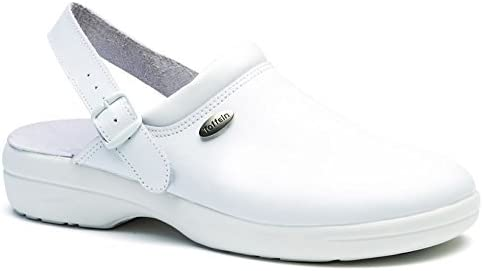 World of Clogs.com Toffeln Flex Lite 0599 Flexible Antiestático Zuecos de Enfermería Zapatos - Blanco