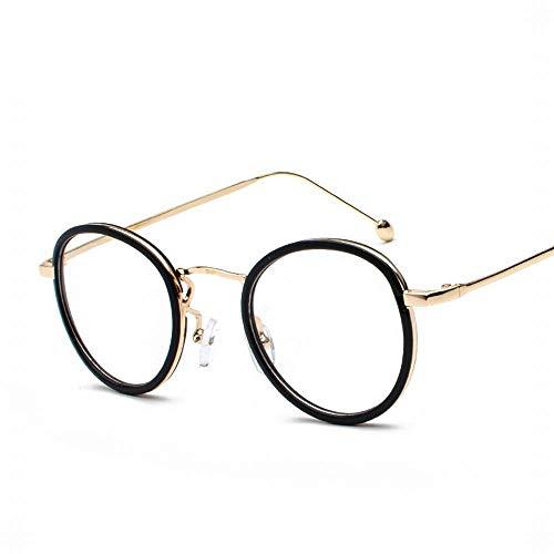WEATLY Retro Runde Brillenfassung Brillenglas Brillenglas, Breite 47mm (Color : Gold/Black Frame)