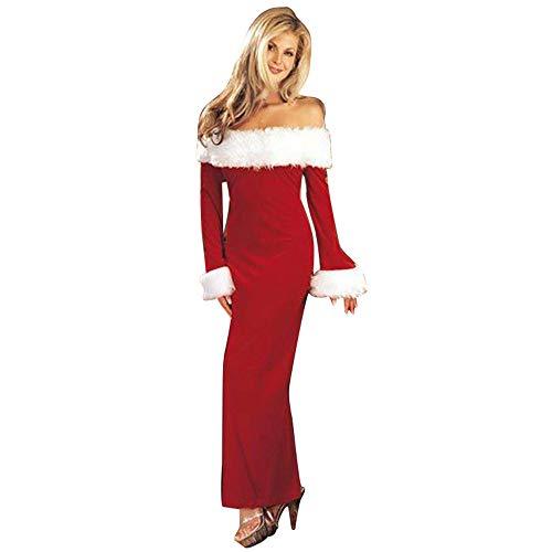 OIKAY weihnachtskleid Damen Warm Schulterfrei Langarm Party Frauen Weihnachten Kleid (Günstige Kostüme Bei City Party)