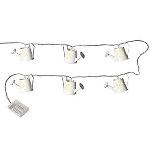 NETPROSHOP Led Batterie Lichterkette Gießkannen aus Metall weiß (8-teilig) Indoor
