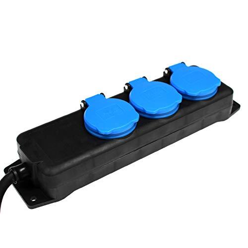 as - Schwabe 3-fach Verteilersteckdosenleiste - Outdoor-Mehrfachstecker mit 1,5 m Leitung - Mehrfachsteckdosen 230 V / 16 A Klappdeckel und Wandbefestigung - IP44 - Schwarz I 38601