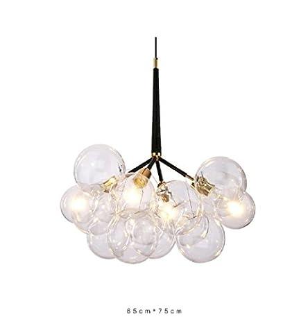 Lustres Lampe Suspensions Lustre Verre Abat-jour en Métal Style Ampoule Rétro Eclairage Decoratif 3 Light 9 Boules de Verre