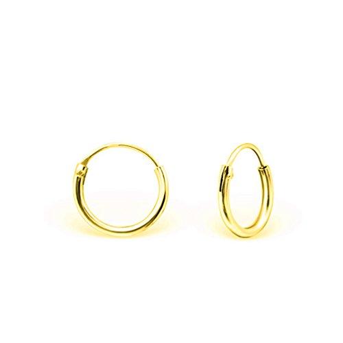 DTP Silver - Argento 925 placcato in Oro Giallo - Orecchini da donna piccoli a Cerchio - Spessore 1.5 mm - Diametro 12 mm