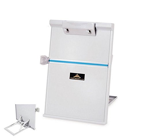 Caballete plegable ajustable Lenhart de tamaño de papel A4 de escritorio, tipo de soporte de copias de documentos, lecturas y copiadores de 35,05cm x 22,86cm, color gris