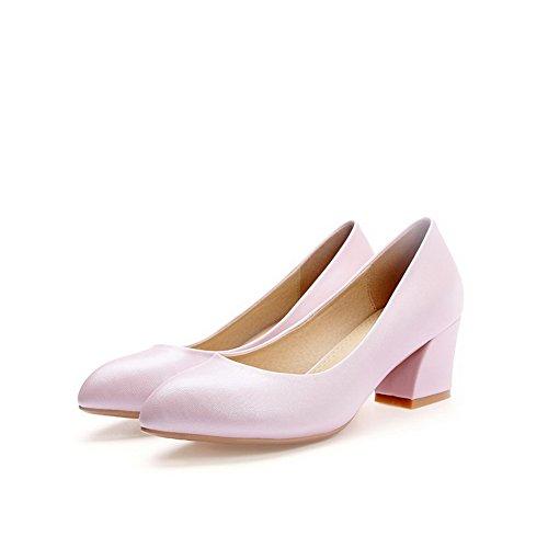VogueZone009 Femme Pu Cuir Couleur Unie Tire Pointu à Talon Correct Chaussures Légeres Rose