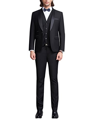 Herren Anzug 3 Teilig Slim Schnitte Schalkragen Smokingjacke Einreiher 1 Knopf und Weste mit Einreiher 4 Knöpfen