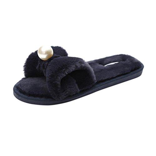 Promotionen UFACE Damen Pearl Bow Fleece Turnschuhe Damen Slip on Sliders Fluffy Kunstpelz Flat Slipper Flip Flop Sandale (36 EU, Schwarz)