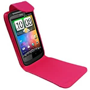 Hot Pink HTC Desire S Hidden Magnetic Hard PU Leather Flip Mobile Phone Case Cover