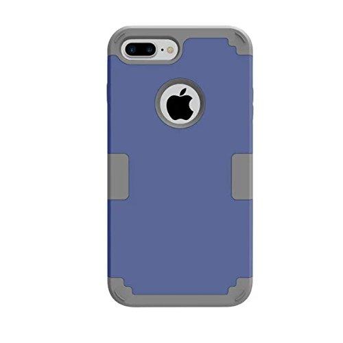 iPhone 7 Plus Coque, Lantier 3 en 1 [Hard Soft Case robuste] [Anti-Scratch] [Shock Absorption] Housse de protection légère Mince Body Armor pour iPhone 7 Plus (5,5 pouces) Light Gold + Noir Dark Blue+Grey