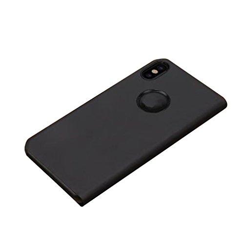 Hehilark Cover iPhone X, Case iPhone X,Smart Mirror Clear View Custodia telefono Custodia protettiva in cuoio PU tipo Flip Suitable for iPhone (argento) nero
