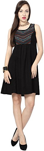 People Women's A-Line Dress (P10202992114100_Black_L)  available at amazon for Rs.549