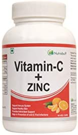Nutrabuff Vitamin C and Zinc 500 mg - 60 Veg Capsules