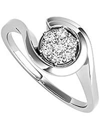 Natural Diamond Swirl Engagement 14K White Gold Ring