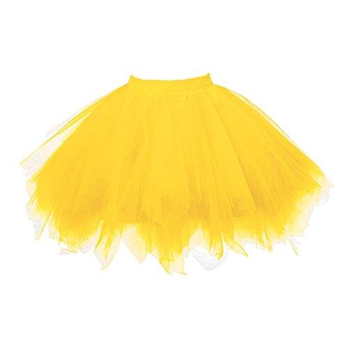 Honeystore Damen's Tutu Unterkleid Rock Abschlussball Abend Gelegenheit Zubehör Goldgelb