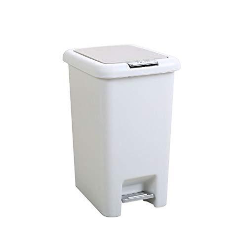 QHY Mülleimer, Tretmülleimer Groß Mit Deckel Mülleimer - Optionales Multi-Color-Multifunktionsgerät,Weiß,A - Deckel Weiß Mülleimer Mit