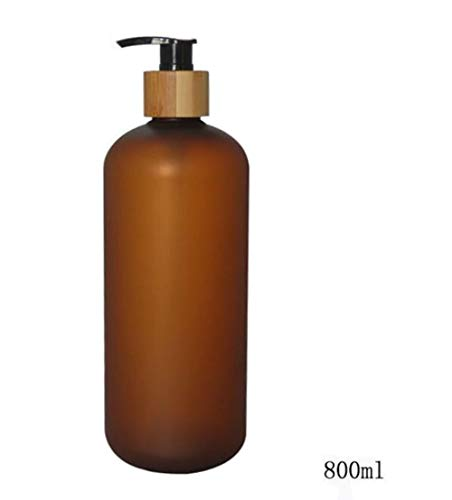 800ML 27.33oz Empty Refillable Amber Frosted Plastic Shampoo Shower Gel Packing Bottle Container Jar with Natural Bamboo Pump for Makeup Cosmetic Bath Soap Liquid Toiletries